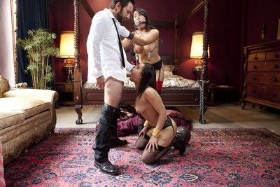 When house submissive mia li breaks the rules, the dominant of the house takes gabriell
