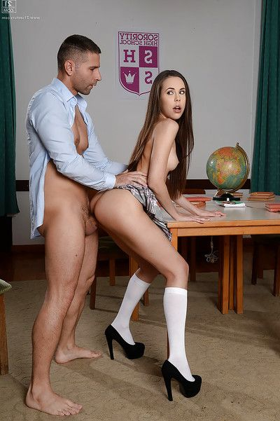 Young schoolgirl Abril fingering her pussy during the time that taking anal from teacher