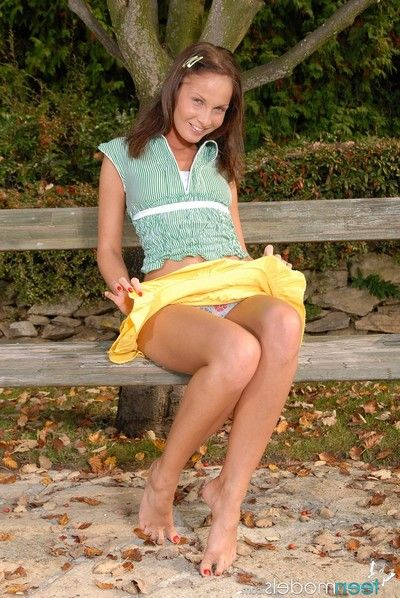 Appealing lauryn may guaranteed knows how to enjoy a nice day in the park she