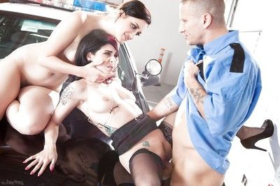 Threesome groupsex with an amateur milf in stockings Joanna Doll