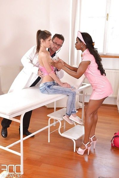 Black nurse Jasmine Webb and decadent doctor fucking juvenile sweetmeat Gina