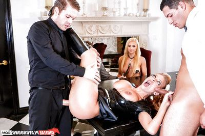 Pornstar Britney Amber forces latex attired maid to suck sex cream from phallus