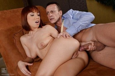 Redheaded European babe Tina Hot getting a-hole fucked in hardcore anal action