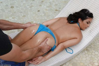 Outstanding brunette amateur Kylie Sinner benefits from oiled up and fucked hard