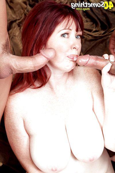 Ripened redhead plumper Heather Barron giving head ahead of double penetration