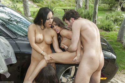 Steaming moist pornstars sharing a big tough cock and a  outdoor