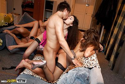 Passionate coed in  attains screwed at the wild sex party