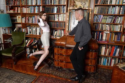 Nerdy library worker Nadia Bella charming spunk flow on outstretched tongue