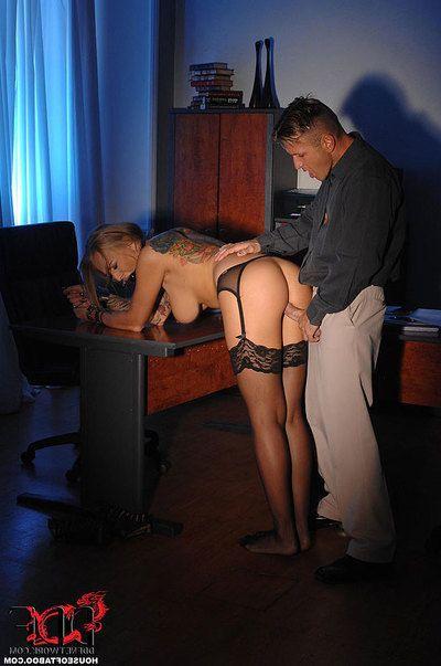 Boobsy blonde office worker Kayla Green charming hardcore anal in BDSM scene