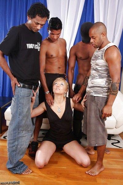 Massive black fuckers are drilling slutty blonde Jennie in her anal