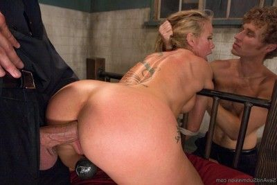 Distorted security guards fuck sexy milf in the armory