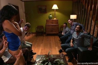 Untamed dear gets tied up, punished and fucked by group of guys