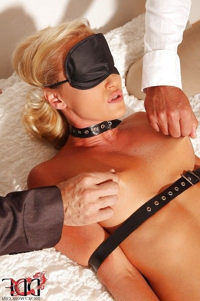 Attached and blindfolded blonde vixen gets abused by double naughty lads