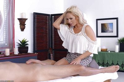 Pornstar Olivia Fox giving ball blowing BJ ahead of receiving anal percussion