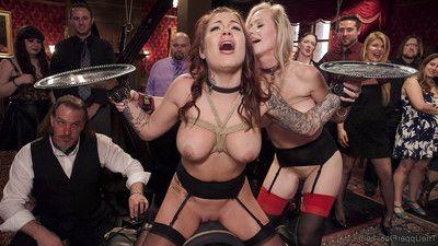 Karmen karma is a boobsy slut slave, fit and organized to serve a crowd of immoral b