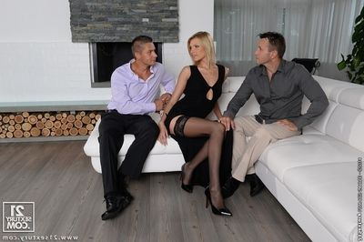 Lana Roberts dose fellatio and gets double penetrated in a threesome