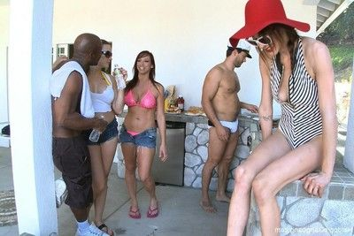 Babe gets fucked by group of perspired males and unconventional lesbians