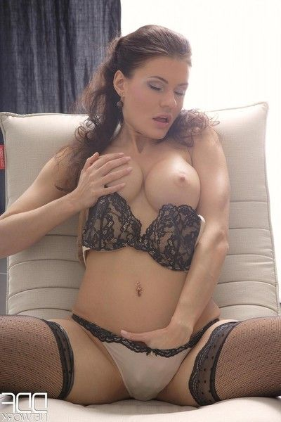 Rounded firm brunette dug in stockings