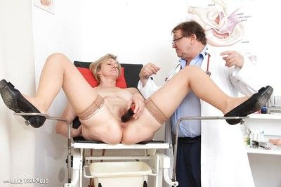 Mature slut with shaggy love-cage Ester has her love-cage checked with gyno