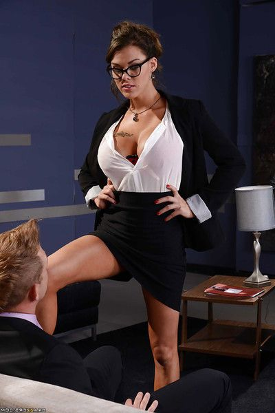 Glorious busty dark brown Peta Jensen swallowing a stiff cock in glasses