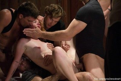 Babe gets fucked in every holes at home by group of kinky studs