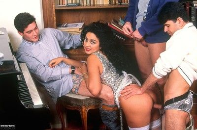 The singing class teacher gangbanged in all holes by three gentlemen