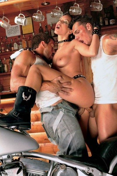 Sticky cindy lords dualistic penetrated on moto bike