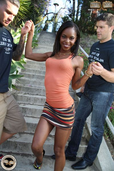 Skinny ebony darling benefits from pussy and tense a-hole screwed