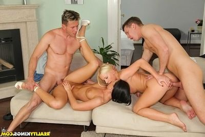 Cum-hungry european doxies have a steamy foursome with hung mates