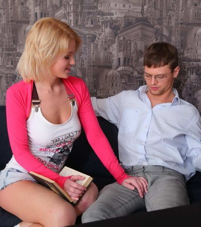 Busty blond coed seduced and assfucked by her hung tutor