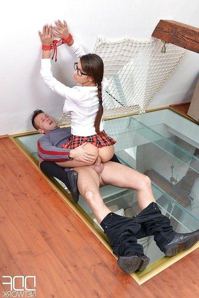 Glasses adorned fetish enthusiast captivating hardcore anal toying BDSM scene