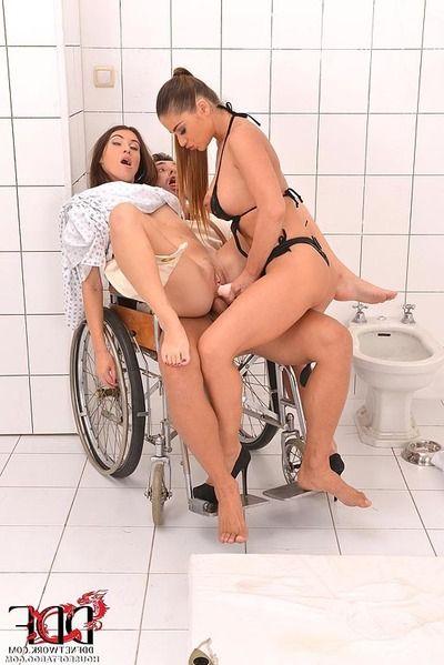 Weird BDSM threesome with Cathy Heaven & Tiffany Doll in mental hospital