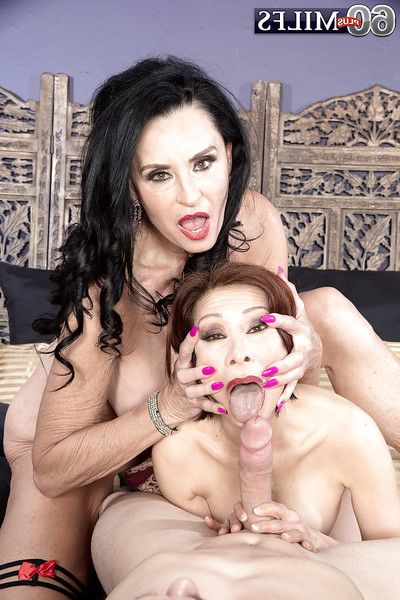 Brunette nan Rita Daniels and fellatio girlfriend take anal in two men plus one female