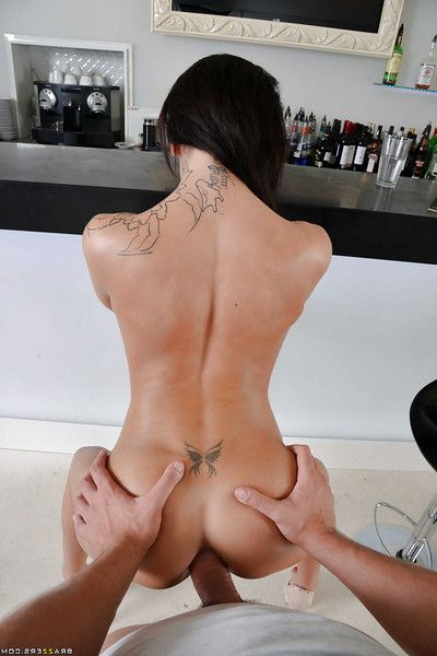 Tattooed bombshell gives a blowjob with testicle licking and gains anal bangged