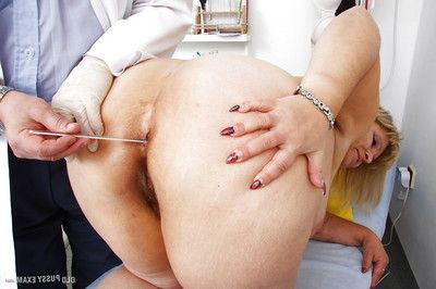 Chubby established blonde having hairy gentile penetrated by gyno doc with speculum