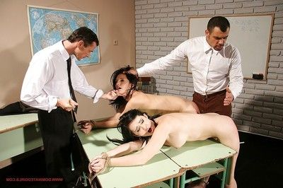Nasty schoolgirls getting punished intense and hard by their naughty teachers