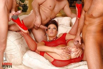 Alluring gal is bonked in the ass in groupsex with three big dicks