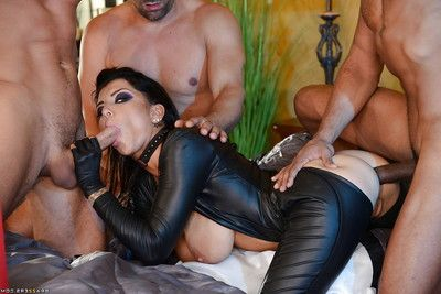 Brunette fetish angel Romi Rain taking DP from big dicks while hubby watches