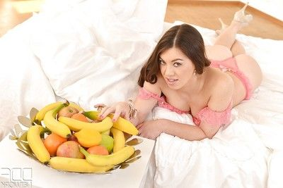 Top rated babe model Tiffany Gal uses a banana to satisfy concupiscent slit