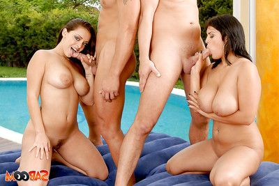 Horny temptresses with hot jugs play foursome with double penetration