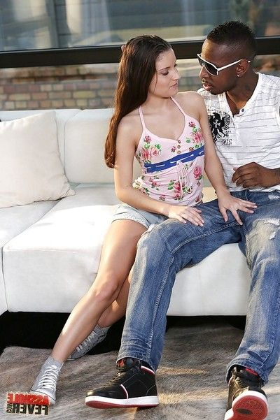 Teeny anal wench with slippy changes direction blows and humps a black boner outdoor