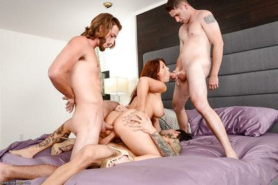 Older wife Syren De Mer receiving triple penetration from younger men