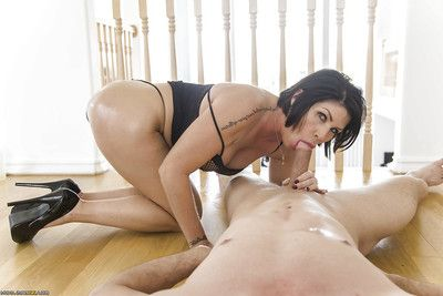 Latina cougar Shay Fox has her big booty oiled up for apple bottoms smoking