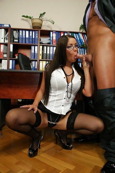 Strange secretary in glasses has partly clothed sex with her horny boss