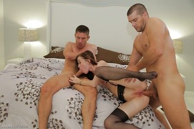 Nylon clad pornstar Misha Cross receiving DP although MMF threesome