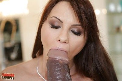 Slimy dark brown chick has some anal joy playing with a giant dildo