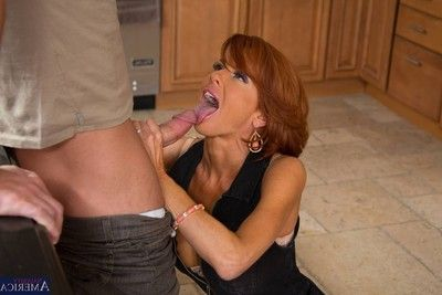 Bawdy milf lady banged in her kitchen