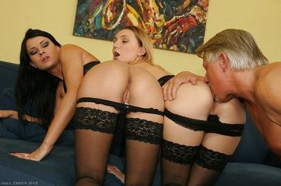 Luscious ladies in stockings have some anal pleasure with a hard prick