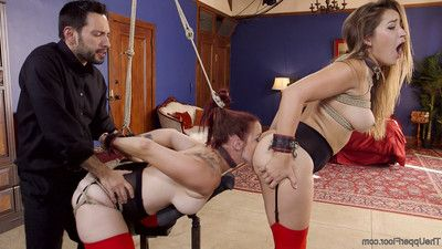 Dani daniels and bella rossi are the picture of slavehood, sweating silently in