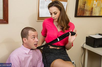 Irresistible babe in stockings Chanel Preston gets drilled in office